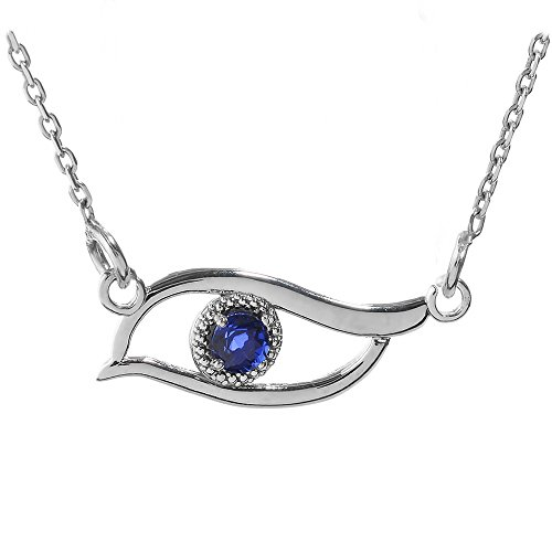 Middle Eastern Jewelry Fine 925 Sterling Silver Blue-Colored CZ Stone Evil Eye Pendant Necklace