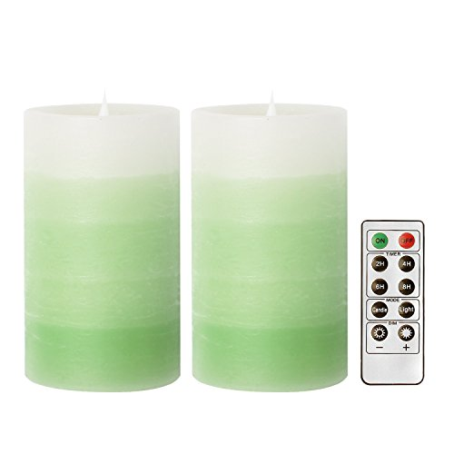 GiveU 3D Flameless Led Candle with Remote, 2 Pack Moving Wick Candle for Home Decor, Weddings, Spring Home Decoration, Battery Included