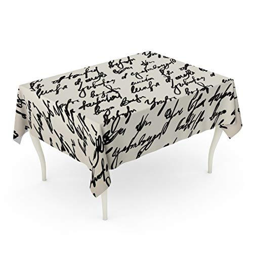 Semtomn Rectangle Tablecloth Beige Newspaper Abstract Hand Write Pattern Poetry Writing Vintage 52 x 70 Inch Home Decorative Waterproof Oil-Proof Printed Table Cloth
