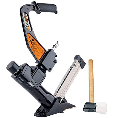 Freeman PFL618BR 3-in-1 Pneumatic Flooring Nailer Ergonomic & Lightweight Nail Gun for Flooring with Padded Grip Long Reach Handle & Interchangeable No-Mar ()