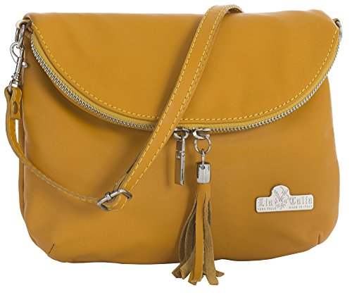 AMY Italian Shoulder Cross Yellow Soft Size Leather Medium Body Real LIATALIA Bag Mustard Small Messenger 1xnqf7wCT