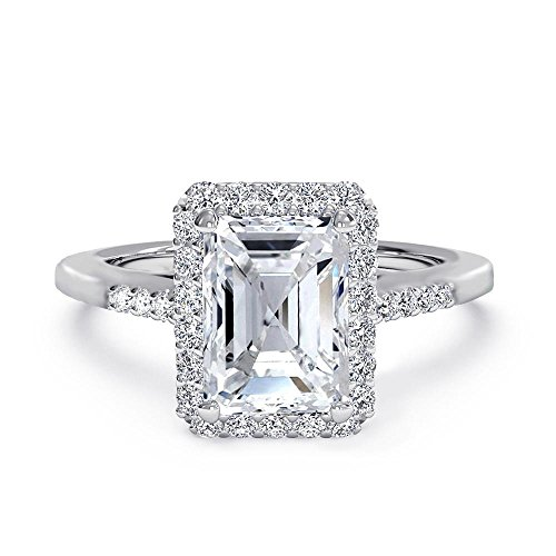 Samie Collection 2.4ctw Emerald Cut Cubic Zirconia Wedding Rings for Women Anniversary Engagement Ring, White AAA CZ in Rhodium / 18K Yellow Gold Plating, Size 5-13 ()