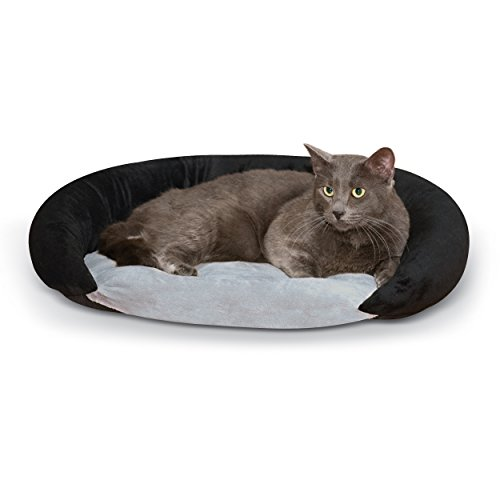 K&H Pet Products Self-Warming Bolster Bed Pet Bed Gray/Black