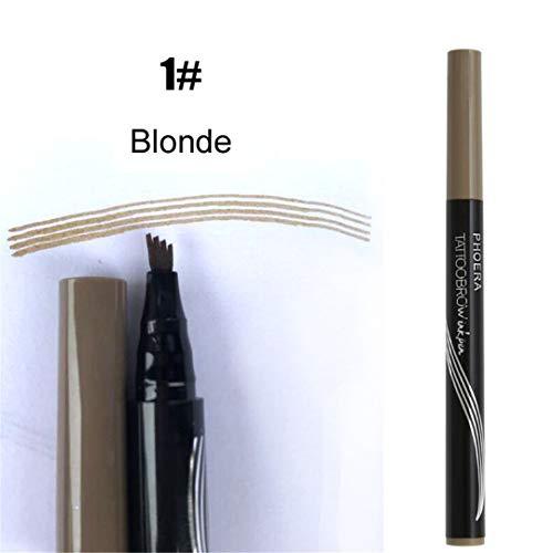 (Latest 4 Way Tip Liquid Eyebrow Pen Tatoo 4 Fork Head Liquid Eye Brow Eyebrow Enhancer Dye Tint Pencil Waterproof color 1 Blonde)