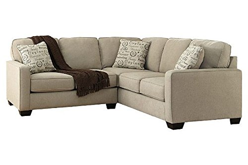 Ashley Alenya 16600-55-67 2PC Sectional Sofa with Left Arm Facing Loveseat Right Arm Facing Sofa Pillows with Print Pattern and Track Arms in (Sectional Arm Right Facing)