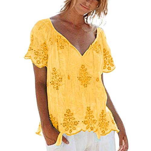 Sunhusing Women's Large Size V-Neck Strappy Embroidered Flower Print Short Sleeve Top Casual T-Shirt Yellow
