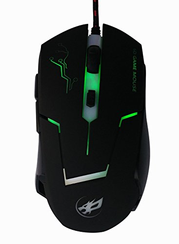 High Precision 3800 DPI Symmetrical Optical USB Wired Mouse with 7 Soothing LED Colors, 6 Buttons Gaming Mouse ,Ergonomic Black Mice for Pro Gamer by Wolf War