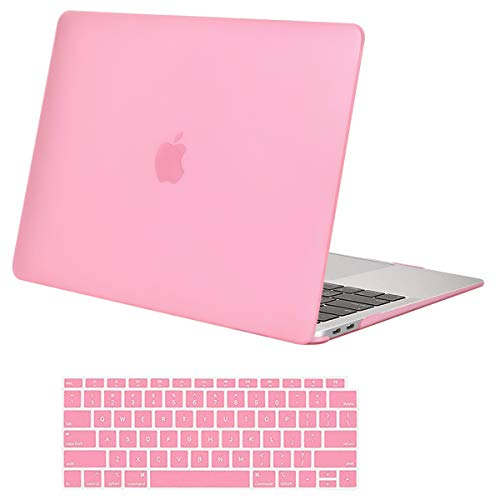 MOSISO MacBook Air 13 Inch Case 2018 Release A1932 with Retina Display, Plastic Hard Case Shell & Keyboard Skin Cover Only Compatible Newest MacBook Air 13 with Touch ID, Pink