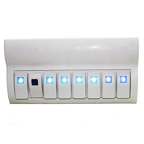 Car Waterproof Switch Panel White ABS Blue LED Light Circuit Breaker ()