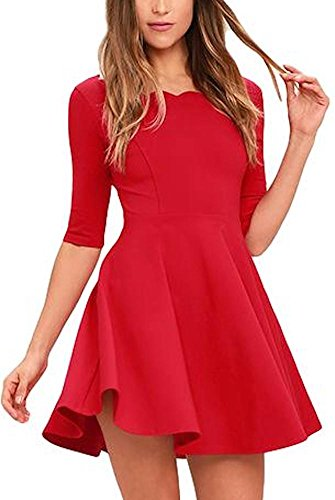 BomDeals Womens Cute scallops Neckline Thick Soft Half Sleeves Stretch Little Black Dresses (Medium, Red) (Red Scallop)