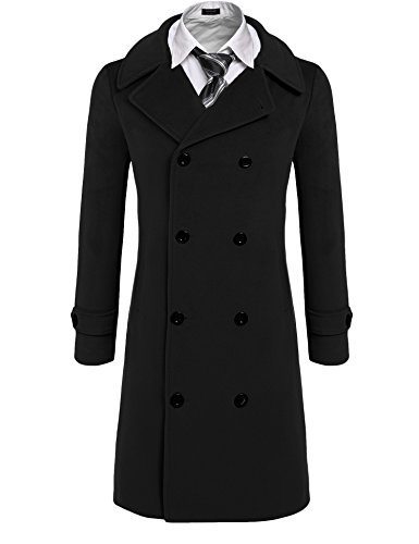 Double Breasted Long Coat - COOFANDY Men's Fashion Classic Wool Blend Double Breasted Pea Coat