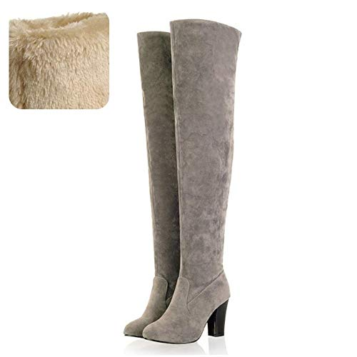 Boots Gray Winter Shoes Round Fashion High Color Women Toe A Heel 43 Haoliequan 34 Warm Thigh Solid Size AaU1q