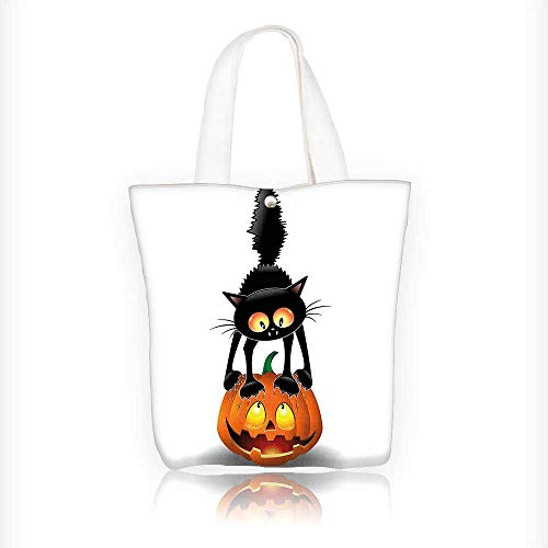 Canvas Tote Bag Black Cat on Pumpkin Head Spooky Characters Halloween Themed Zipper Closure Grocery Shopping Bag Shoulder Bag for Women Girls Students W11xH11xD3 INCH