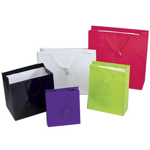 """JAM Paper® Gift Bags - Large Square - 14"""" x 14"""" x 8 3/4"""" - White Glossy - Sold Individually"""