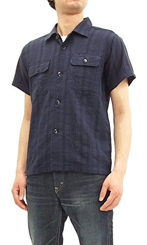 Blue Striped Camp Shirt (Pherrow's Men's Slim fit Jacquard Stripe Short Sleeve Camp Shirt 18S-POG107 Navy Blue Japan L (US S/UK 36))