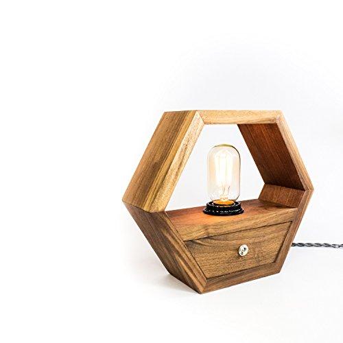 Hexagon Edison Lamp - Black Walnut by Fernweh Woodworking