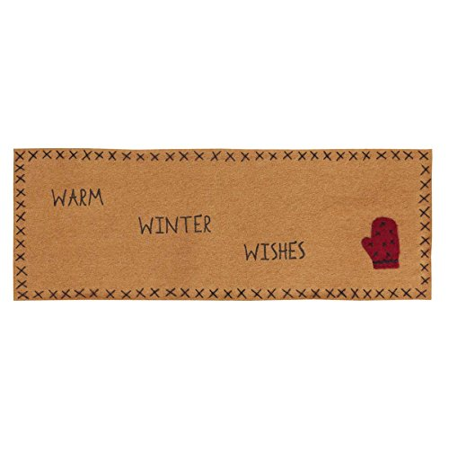 VHC Brands Warm Wishes Runner Felt with Applique Mitten & Stencil 8x24