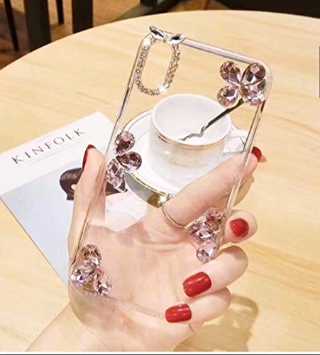 iPhone XS Max Diamond Case, Luxury Lady Leaf Design Rhinestone Stone Jewelled + Clear TPU Case for iPhone XS Max 6.5-inch (Pink)