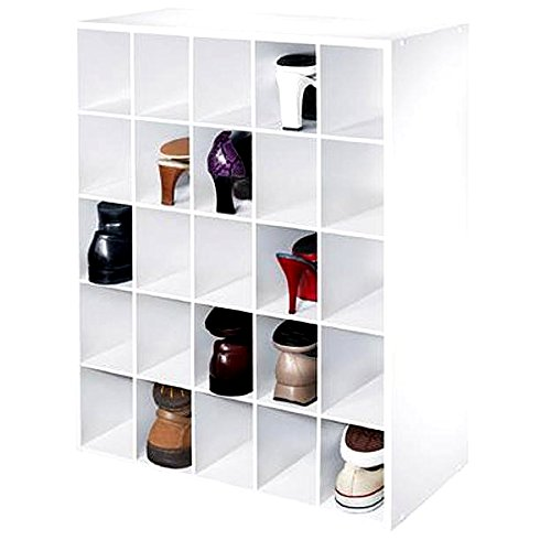 Shoe Organizer 25 Pair Storage Cube for House Entrance, Modern White Cube Compartment for Mens and Women Running Shoe Organizer & E-Book