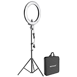 """Neewer Camera Photo Studio 18""""Outer 14""""Inner 600W 5500K Dimmable Ring Fluorescent Flash Light with 75""""/6ft/190cm Light Stand for Portrait,Fashion Photography and Video Shooting"""