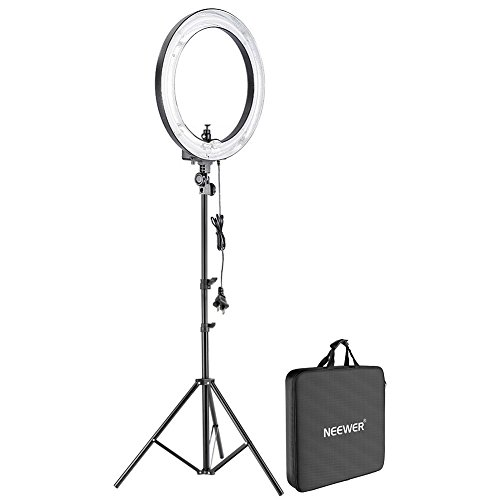 Neewer Camera Photo Studio 18''Outer 14''Inner 600W 5500K Dimmable Ring Fluorescent Flash Light with 75''/6ft/190cm Light Stand for Portrait,Fashion Photography and Video Shooting by Neewer
