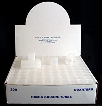 Numis Brand Square Coin Tubes 19mm Penny Storage 10 Pack