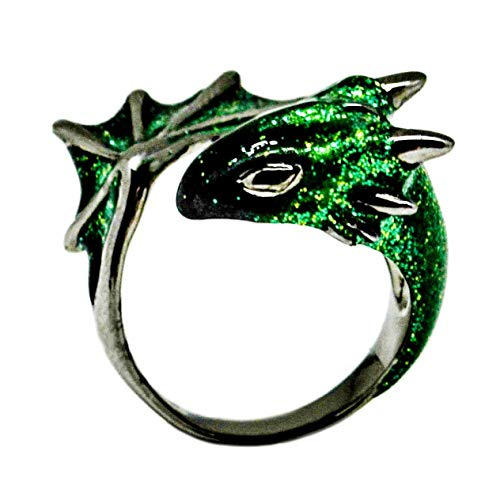 (Black Emerald Dragon Ring by MONVATOO London, a free-size (adjustable band) black rhodium plated dragon ring jewelry with glittering green emerald and black enamel)