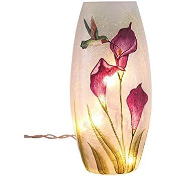 Amazon Transpac Glass Hummingbird Vase With Led Lights Home