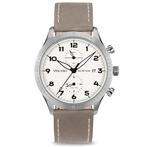 Vincero Luxury Men's Pilot Wrist Watch - Top Grain Italian Leather Watch Band - 44mm Analog Watch - Japanese Quartz Movement (White/Silver) Band Quartz Movement Watch