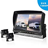 Backup Camera System with Video Recording, 9'' IPS HD Split Monitor + 2 Upgraded 1080P Night Vision IP68 Waterproof Rear View Camera Kit for Bus, Truck, RV, Trailer, Motorhome, Camper