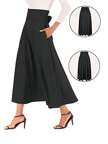 (Calvin&Sally Women High Waist Front Slit Belted Casual A-Line Pleated Midi Skirt Dresses (Black M))