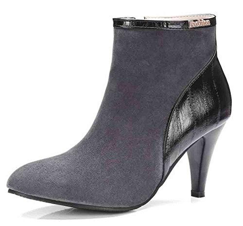 Easemax Womens Mode Oversize Spetsig Tå Dragkedja Hög Stilett Klack Boots Grå