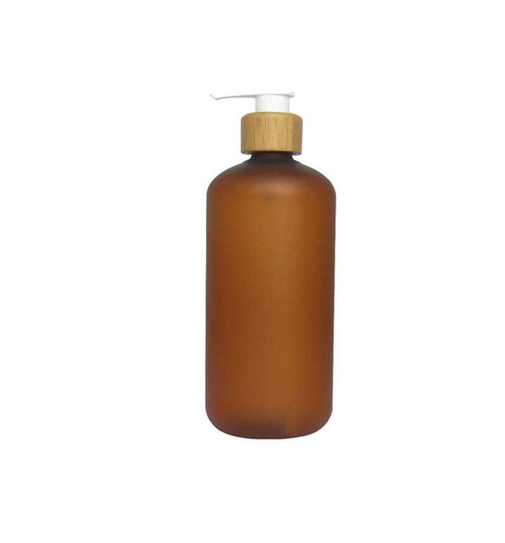 1PCS Refill Brown Plastic Leakproof Press Pump Bottel With Bamboo Pump Bath Shower Shampoo Hair-Conditioner Liquid Soap Dispenser Toiletries Cosmetic Lotion Holder Storage Container Jars(120ml/4oz) Upstore
