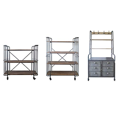 Herrera 41.73'' Bookcase in Dark Gray with Casters, Shaped Tubular Steel Frame And Three Solid Wood Shelves, by Artum Hill by Artum Hill (Image #2)