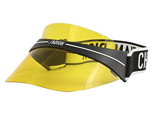 (Dior DIORCLUB1 Visor Black White/Yellow one Size fits All Unisex Sunglasses)