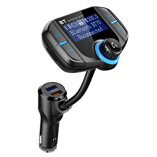 KeeKit Bluetooth FM Transmitter, Wireless In-Car FM Transmitter Radio Adapter Car Kit, Universal Car Charger with Dual USB Charging Ports, Hands Free Calling, for iPhone, Samsung