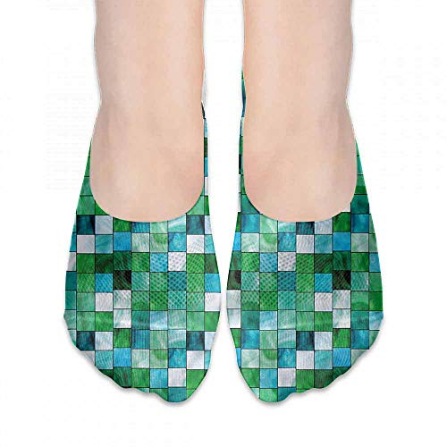 Hip Hop Street Style Sock Emerald,Mosaic Square Tiles Aquatic,socks women low cut no show