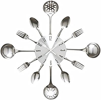 Imoerjia Creative and Stylish Wall Clock Kitchen Restaurant Soup Ladle Soup Missing Clock Mute Quartz Wall