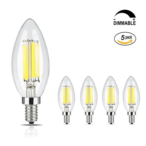 Acidea 6W Dimmable LED Filament Candle Light Bulb, 6000K Daylight (Cool White) 600LM, E12 Candelabra Base Lamp, C35 Torpedo Shape Bullet Top, 60W Incandescent Equivalent, 5Pack