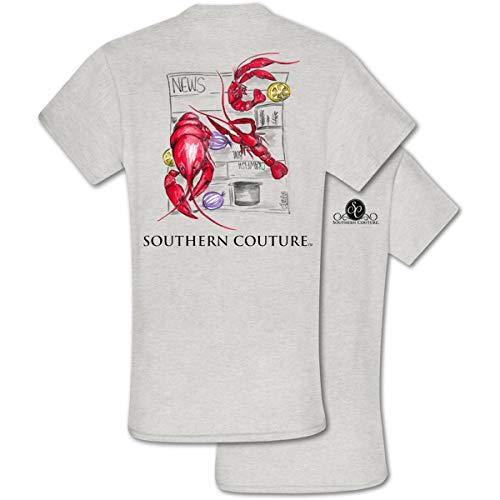 Painted Crawfish Ash Grey Classic Cotton Fabric Novelty T-Shirt X-Large