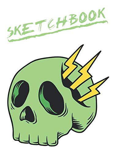 Sketchbook: Cute Skull Sketchbook for Adults/Children to Sketching, Whiting, Drawing, Journaling and Doodling, Large (8.5x11 Inch. 21.59x27.94 cm.) 120 Blank Pages (GREEN&WHITE&YELLOW&BLACK Pattern) ()