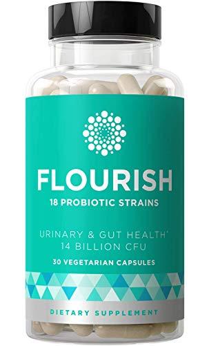 Flourish Probiotics Women - Gut & Digestive Health, Urinary Tract, Prenatal & Pregnancy - 18 Potent Strains, 14 Billion CFU, Lactobacillus, Saccharomyces, Prebiotic - 30 Mini Vegetarian Capsules