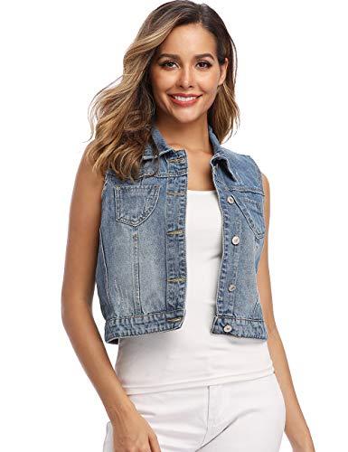 Wudodo Women's Classic Denim Vest Sleeveless Button up Slim Fit Cropped Jean Jacket
