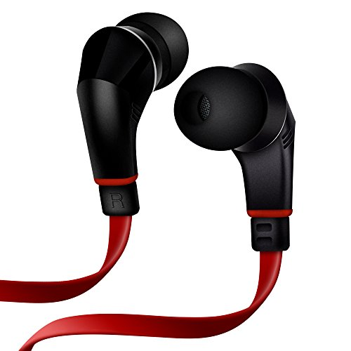 NoiseHush NX80 Earphones Premium Bass Stereo Headphones In-Ear with Tangle Free Cable Inline Microphone Earbuds - Black/Red