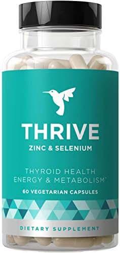 Thrive Thyroid Support & Energy Metabolism – Naturally Fight Fatigue, Balance Hormones, Promote Focused Energy – Zinc, Selenium, Iodine – 60 Vegetarian Soft Capsules
