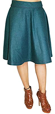 Gugi Women's Casual Plain Denim Skater Swing Knee length Midi Skirt with Zipper