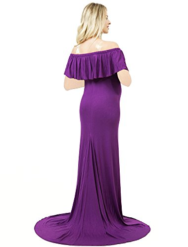 Sannyway Photoshoot Maternity Dress Ruffle Off Shoulder Photography Maxi Gown (Purple, L) by Sannyway (Image #2)