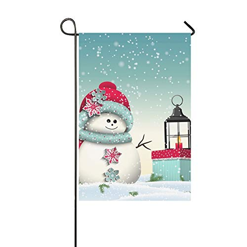 Home Decorative Outdoor Double Sided Cute Snowman Colorful Present Vintage Lantern Garden Flag,house Yard Flag,garden Yard Decorations,seasonal Welcome Outdoor Flag 12 X 18 Inch Spring Summer Gift