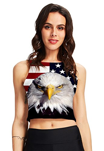 RAISEVERN Womens Summer Sleeveless Crop Top American Flag Eagle Print Graphic T-Shirt Workout Short Tank (Eagle Print Tee)