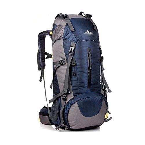 LQABW Alpinismo Que Va De Excursión De Los Hombres Y De Las Mujeres Del Paquete De Gran Capacidad Cubierta De La Lluvia Del Bolso De Hombro 50L Mochila De Senderismo,Black Blue